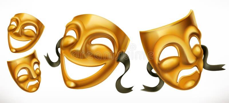 Gouden theatrale maskers Komedie en tragedie vectorpictogram royalty-vrije illustratie