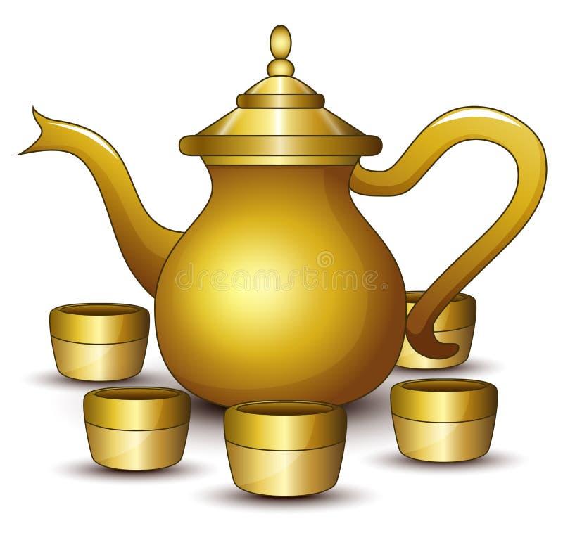 Gouden theepotbeeldverhaal met één of andere kop stock illustratie