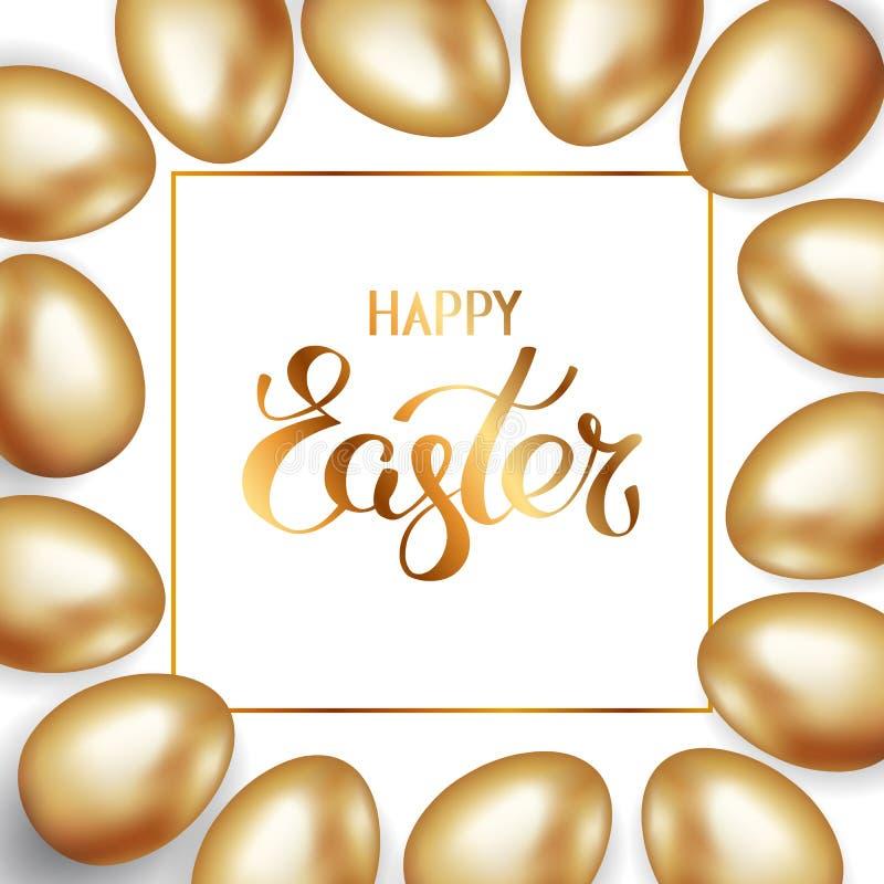 Gouden titel van Gelukkige Pasen in kader met grens van gouden paaseieren op witte achtergrond De achtergrond van de uitnodiging  royalty-vrije illustratie