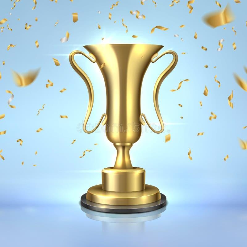 Gouden toekenning Realistische kampioenskop, 3D ontwerpsjabloon van de winnaartrofee, leidingsconcept met confettien Gouden vecto vector illustratie