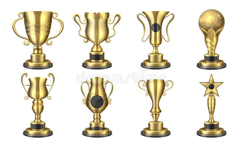 Gouden Toekenning Realistische trofeekop, 3D ontwerp van de wedstrijdprijs, het concept van de sportbeloning, winst en succeselem vector illustratie