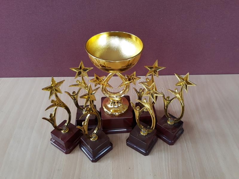 Gouden toekenningskoppen Trophys stock foto's