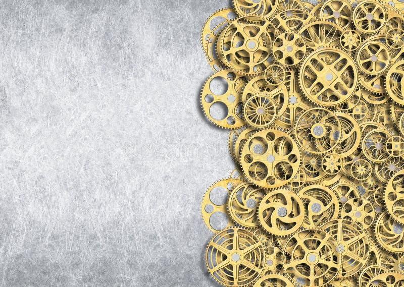 Gouden toestel, industriële achtergrond van het mechanisme van wielen met vector illustratie