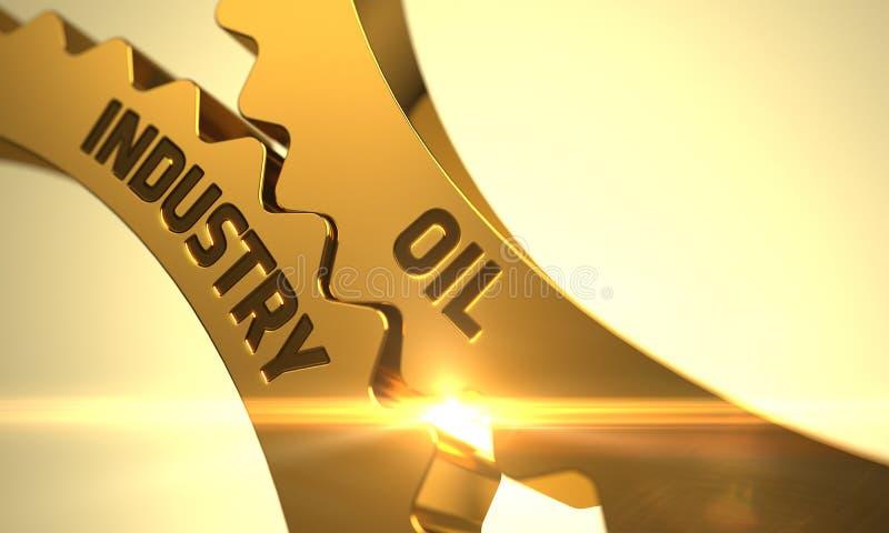 Gouden Toestellen met het Concept van de Olieindustrie 3d stock illustratie
