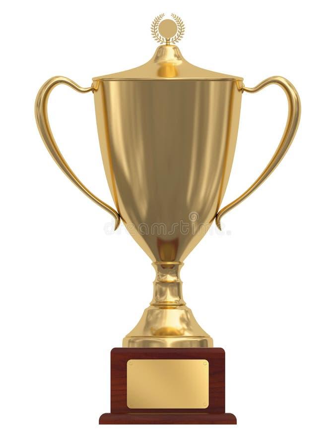 Gouden trofeekop op houten voetstuk royalty-vrije stock foto's
