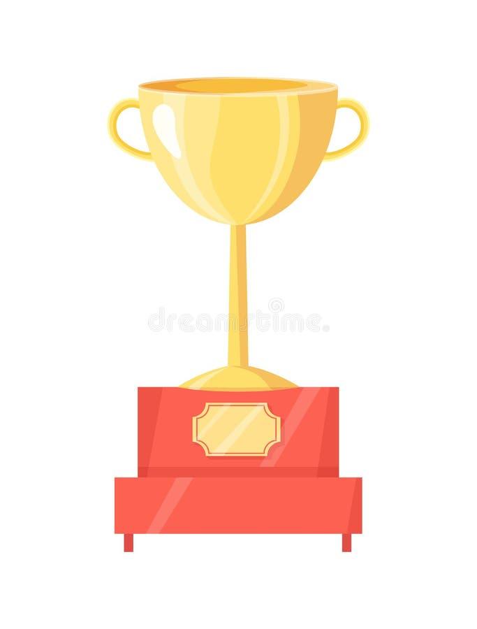 Gouden Trofeekop op Voetstuk Vectorillustratie vector illustratie
