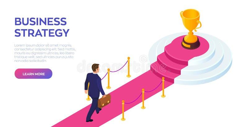 Gouden Trofeekop van de winnaar op een rode tapijtweg E Weg royalty-vrije illustratie