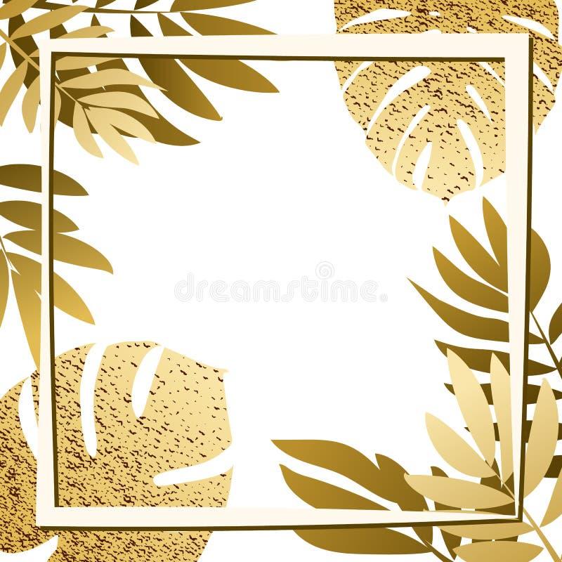 Gouden tropische bladeren met kader vector illustratie