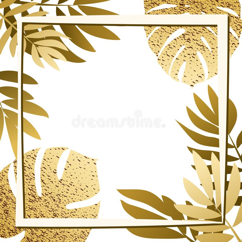 Gouden tropische bladeren met kader royalty-vrije illustratie