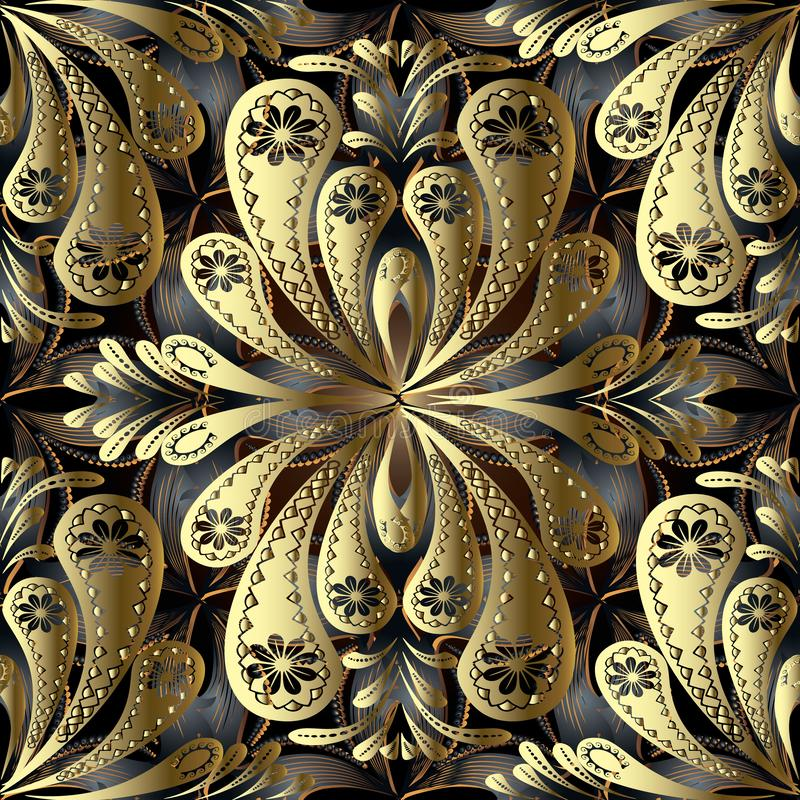 Gouden uitstekend bloemen 3d vector naadloos patroon De samenvatting ornamen stock illustratie