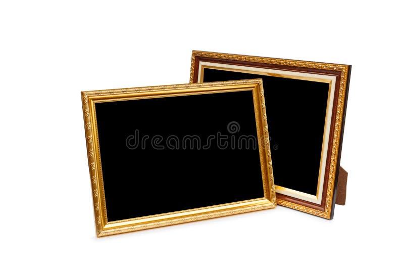 Gouden uitstekend houten die fotokader op wit wordt geïsoleerd Gespaard met cl royalty-vrije stock fotografie