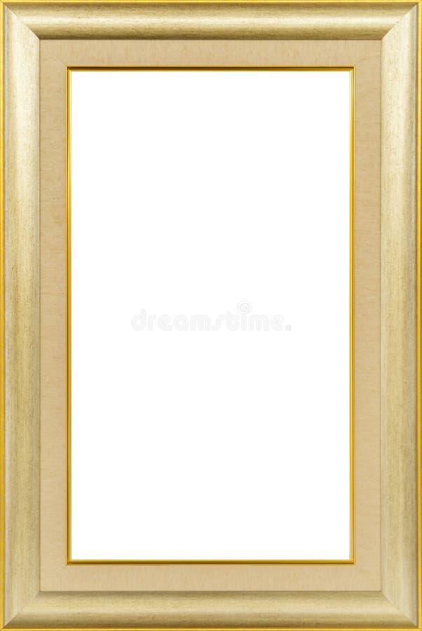 Gouden uitstekend houten die kader op wit wordt geïsoleerd stock afbeelding