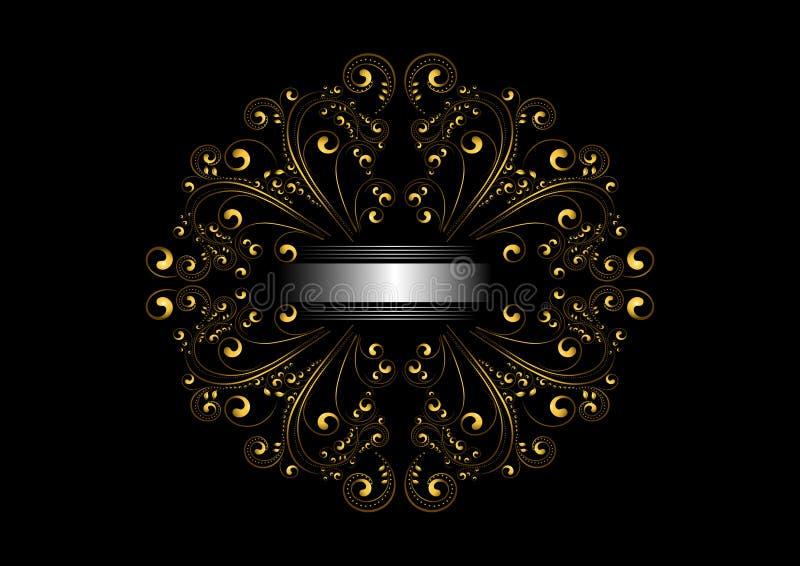 Gouden uitstekend kader van ovaal ornament met kalligrafische gekrulde details en zilveren lint royalty-vrije illustratie