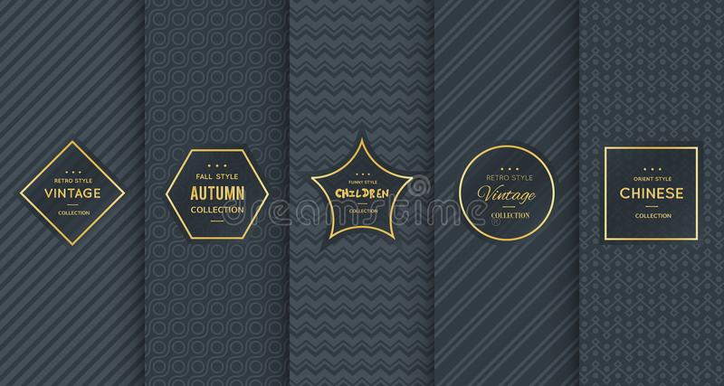 Gouden uitstekend patroon op zwarte achtergrond royalty-vrije stock afbeeldingen