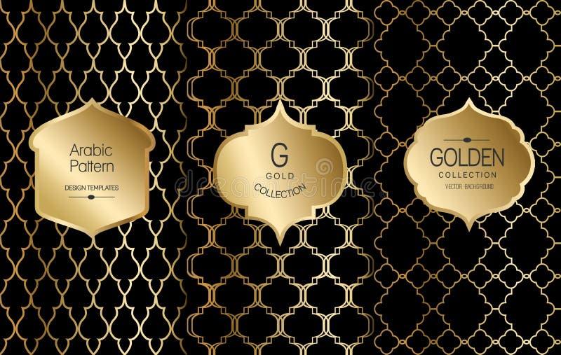 Gouden uitstekend patroon op zwarte achtergrond Vector illustratie Gouden abstract kader Etiketreeks Arabisch patroon vector illustratie