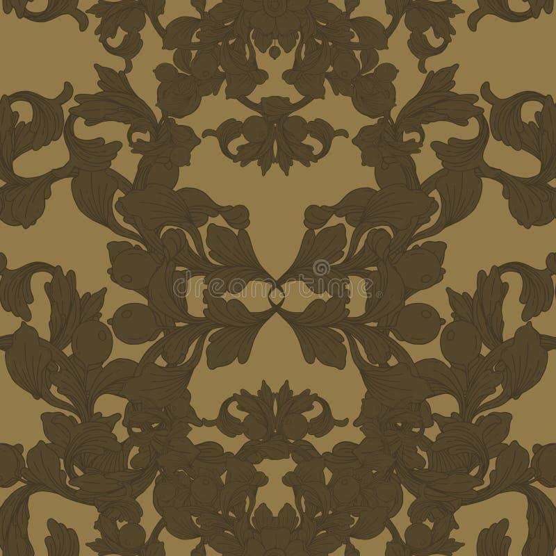 Gouden uitstekende barokke antieke de stijlacanthus van het ornament retro patroon Decoratief ontwerpelement filigraan royalty-vrije illustratie