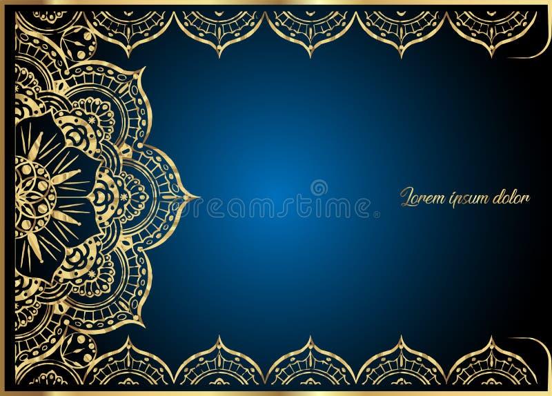 Gouden uitstekende groetkaart op blauwe achtergrond Het malplaatje van het luxeornament Groot voor uitnodiging, vlieger, menu, br vector illustratie