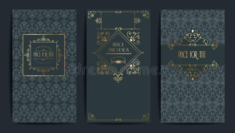 Gouden uitstekende kaart Vectorillustratie voor retro ontwerp Gouden elegant kader Etiketreeks De achtergrond van de luxeuitnodig royalty-vrije illustratie