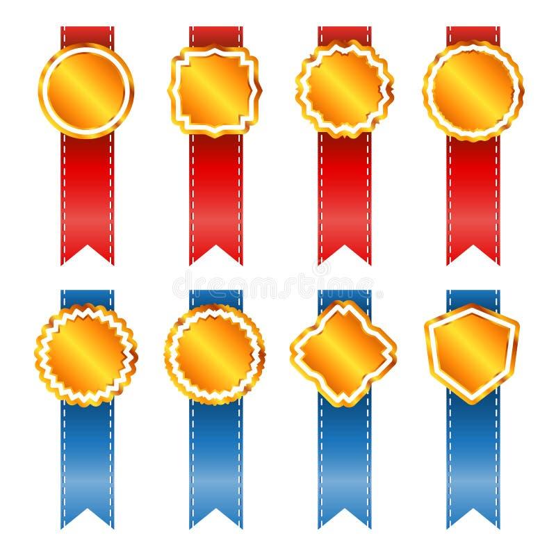 Gouden uitstekende kentekens met lint. vector illustratie