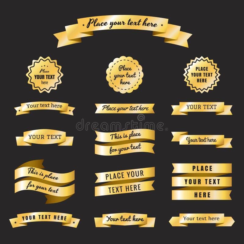 Gouden uitstekende linten in retro stijl vectorreeks Deel vier royalty-vrije illustratie