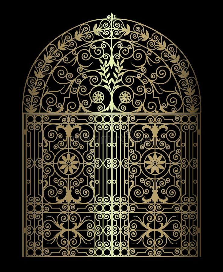 Gouden uitstekende poort stock illustratie