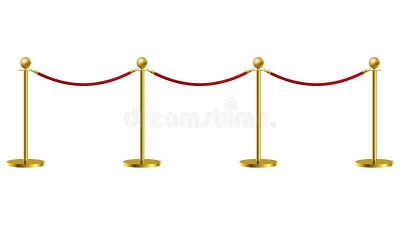 Gouden van het de Aannemersconcept van de Kabelbarrière van de de Premièreexpositie en Bescherming Duur Art. Vector illustratie vector illustratie