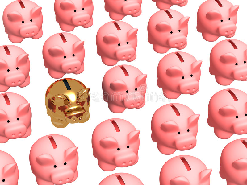 Gouden varkensmuntautomaat, waard in rijen van gebruikelijke dozen vector illustratie