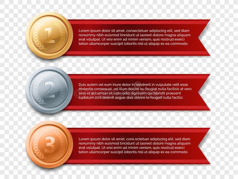 Gouden vector de toekenningslint van de medaillebanner stock illustratie