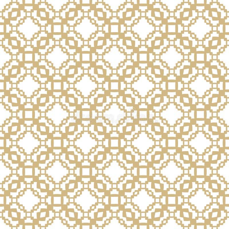 Gouden vector naadloos patroon met geometrische vormen, kettingen, netto net, netwerk royalty-vrije illustratie