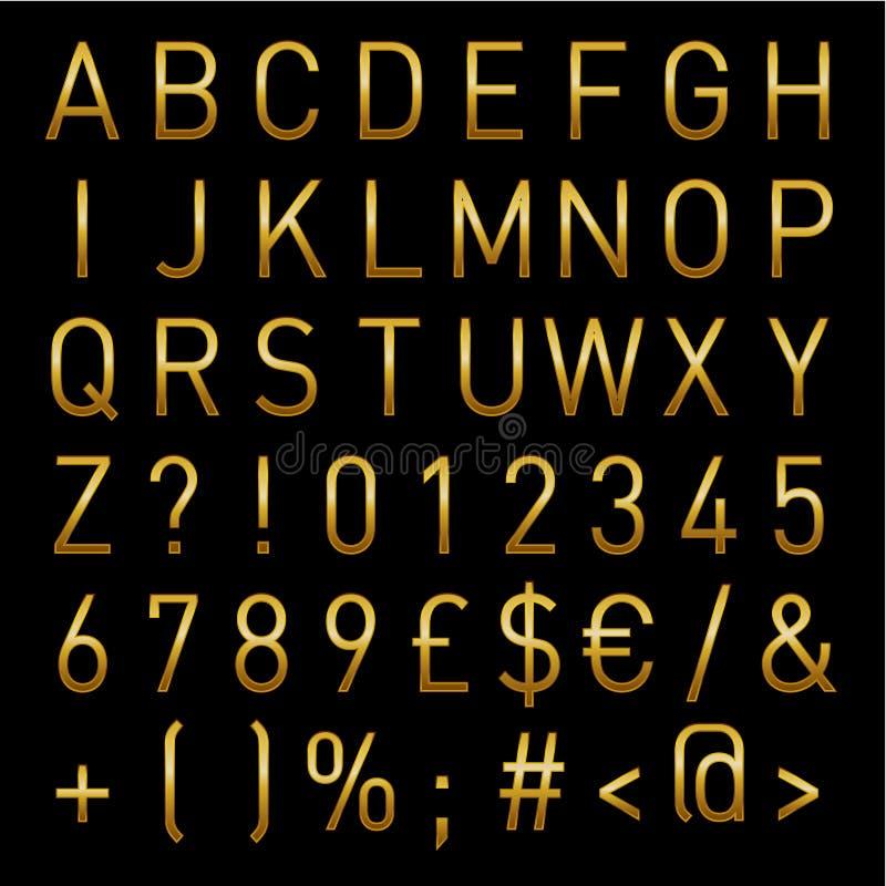 Gouden Vectoralfabet Lichte Letters en Getallen onmiddellijke Download royalty-vrije illustratie