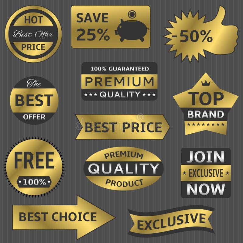 Gouden vectoretiketten stock illustratie