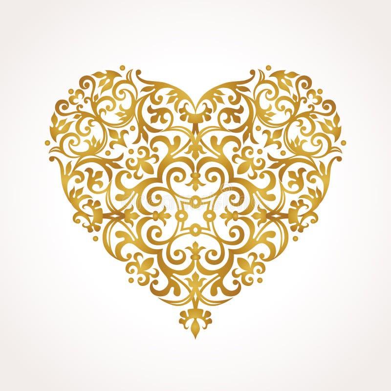 Gouden vectorhart in Victoriaanse stijl stock illustratie