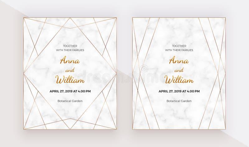 Gouden veelhoekige lijnenkaders op de marmeren textuur Geometrische huwelijksuitnodiging In malplaatjes voor banner, vlieger, aff vector illustratie