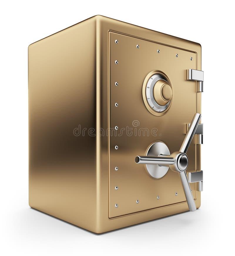 Gouden veilige 3D doos. De kluis van de bank. Geïsoleerd. vector illustratie