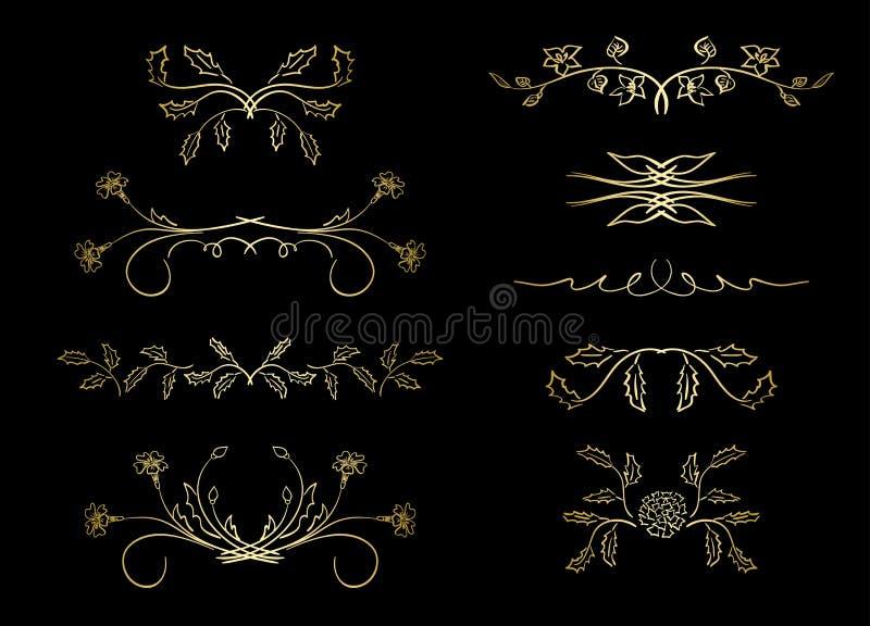 Gouden verdelers - vectorelementen met bloemen stock illustratie