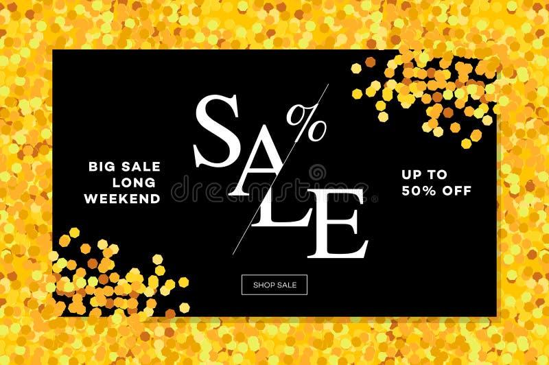 Gouden verkoopachtergrond in kader Gouden schitter vlieger, affiche, die voor het verkopen van teken, korting, marketing, het sho royalty-vrije illustratie