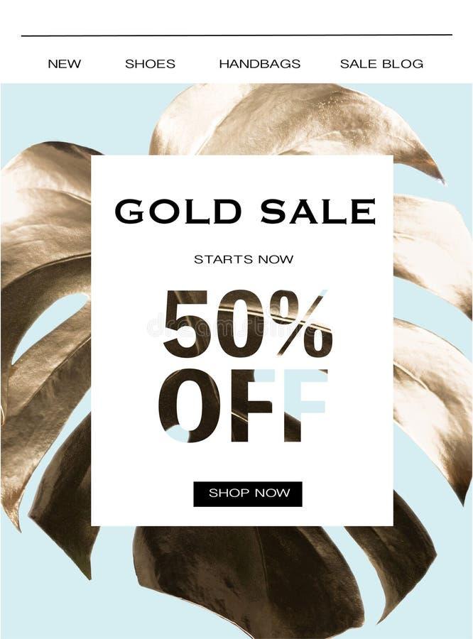 Gouden verkoopbanner royalty-vrije stock afbeeldingen