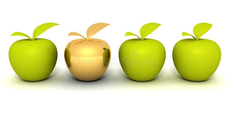 Gouden verschillende appel tussen andere groene appelen royalty-vrije illustratie