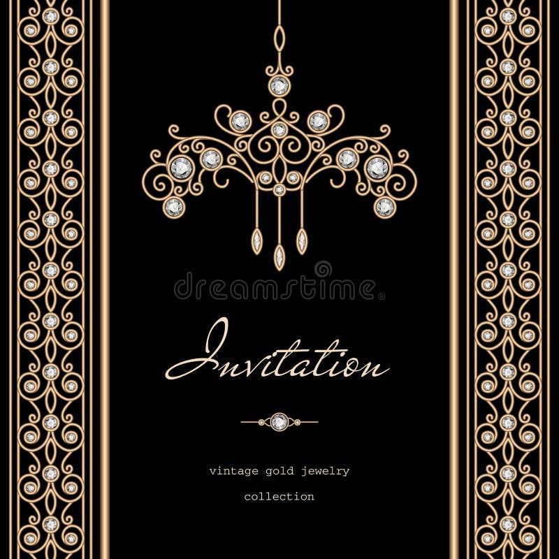 Gouden verticaal kader royalty-vrije illustratie