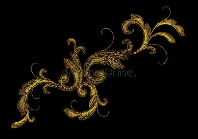 Gouden Victoriaans Borduurwerk Bloemenornament Van de de manierdruk van de steektextuur van de het flard gouden bloem Barok het o stock illustratie