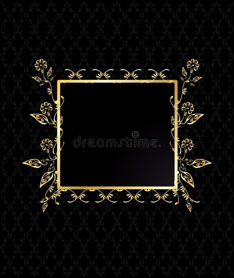 Gouden vierkant bloemenframe stock illustratie