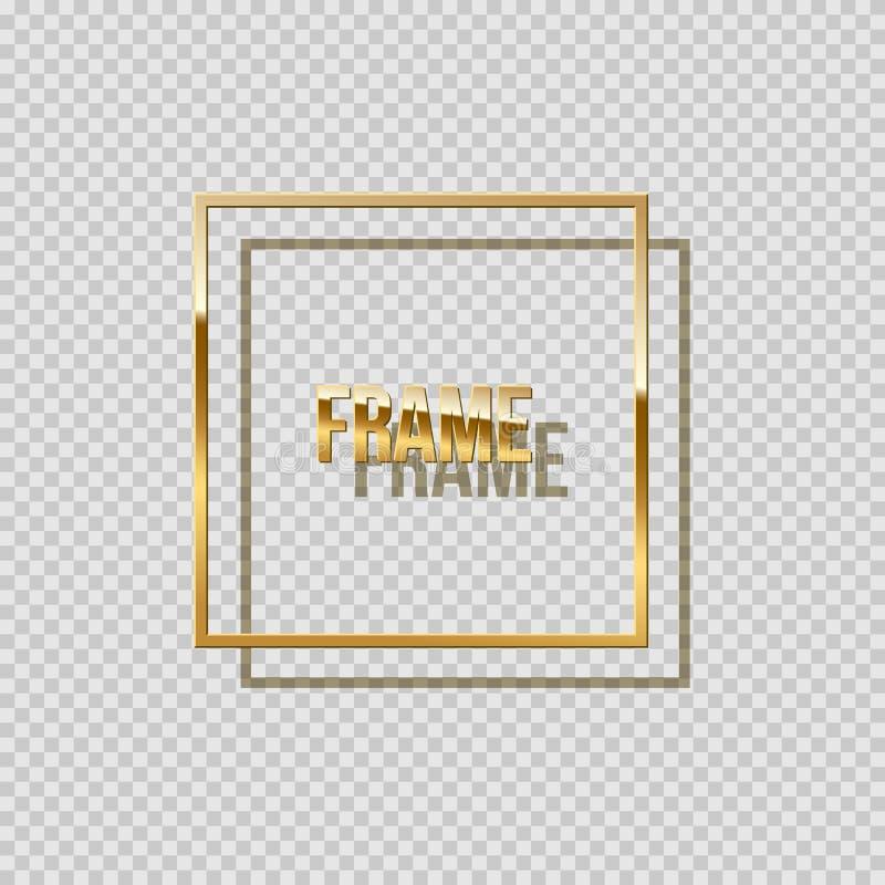 Gouden vierkant die kader met schaduw op transparante achtergrond wordt geïsoleerd Vector ontwerpelement stock illustratie