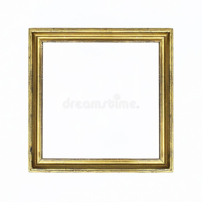 Gouden vierkant kader voor het schilderen of beeld op witte achtergrond Geïsoleerde Voeg uw tekst toe royalty-vrije stock fotografie