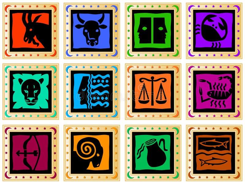 Gouden vierkanten met gekleurde tekens vector illustratie