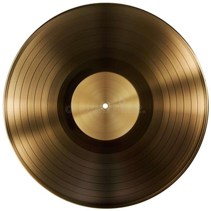 Gouden of vinyldieverslagschijf met het knippen van weg wordt geïsoleerd stock foto