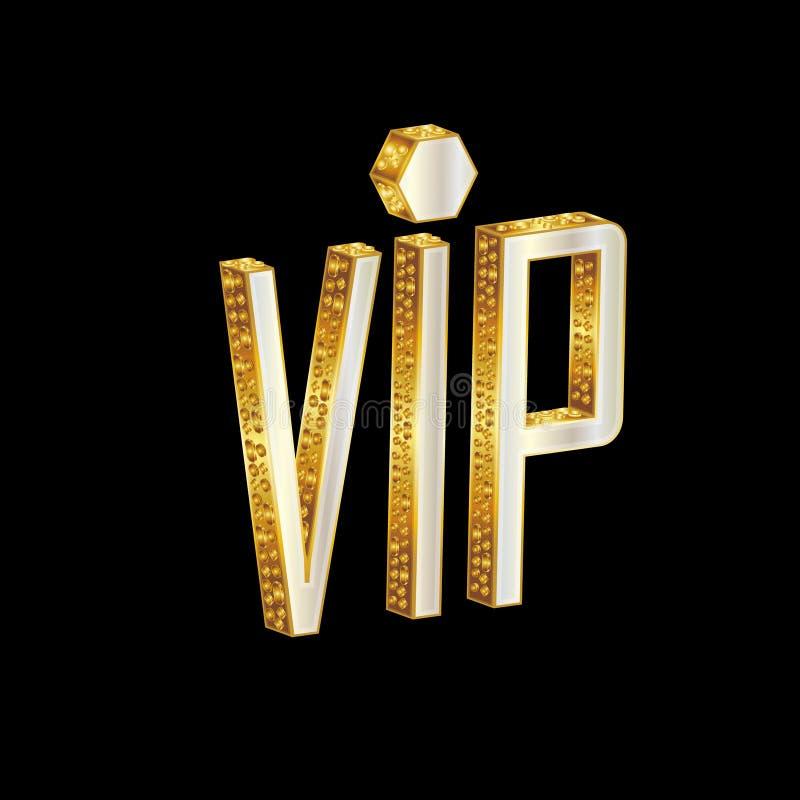 Gouden VIP brieven stock illustratie