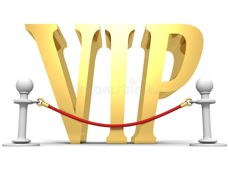 Gouden VIP teken achter de barrière van de fluweelkabel stock illustratie