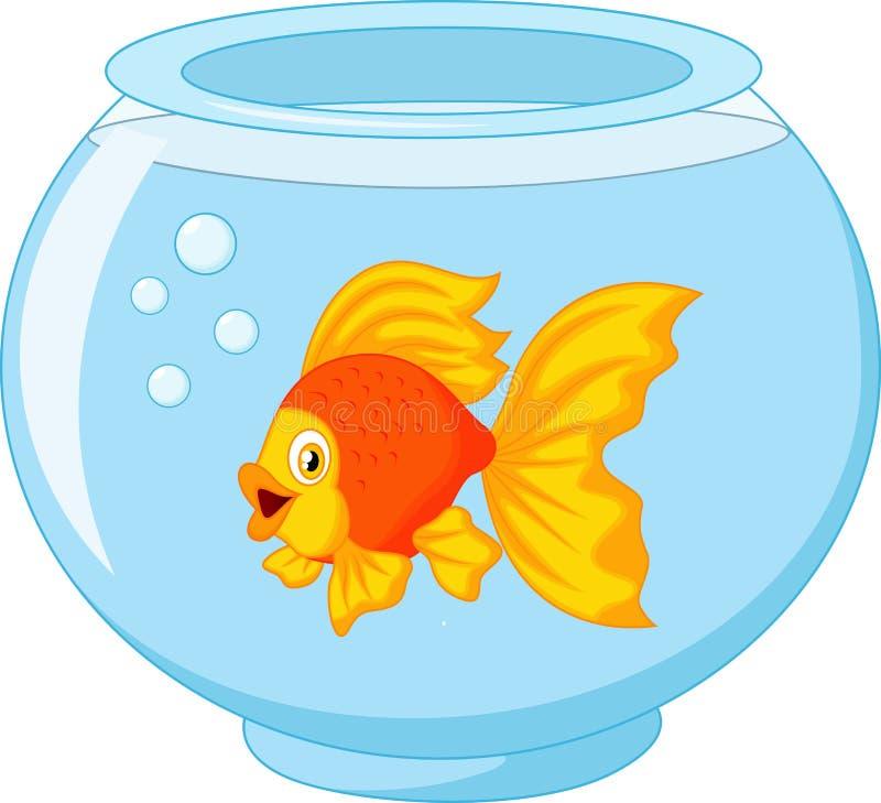 Gouden vissen in aquarium vector illustratie