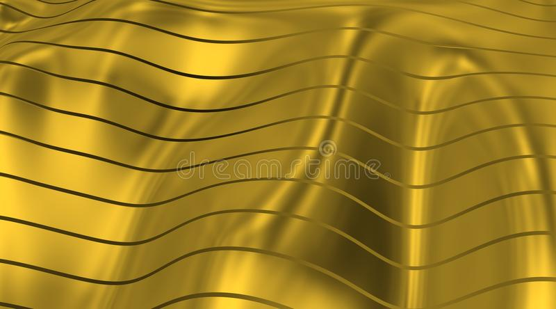 Gouden Vlag met lijnen en strepen aan de wind royalty-vrije illustratie