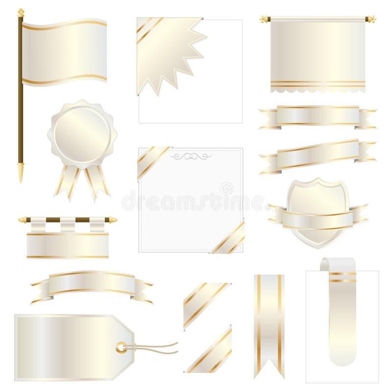 Gouden vlaggen en linten stock illustratie